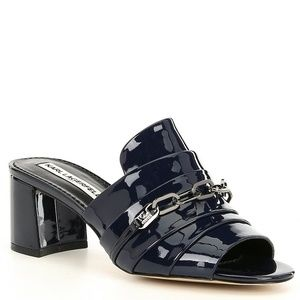 Karl Lagerfield Haley navy patent leather mule 6.5